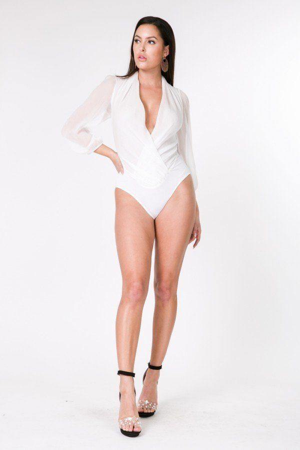 Puff Sleeve Sheer Bodysuit - White - WOMEN TOPS - NIGEL MARK