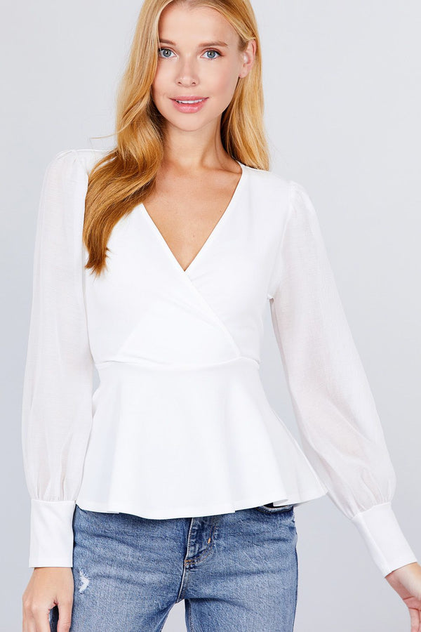 Puff Sleeve V-neck Peplum Top - NIGEL MARK