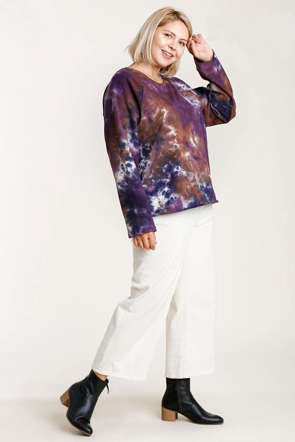 Purple Tie-dye Top - PLUS TOPS - NIGEL MARK
