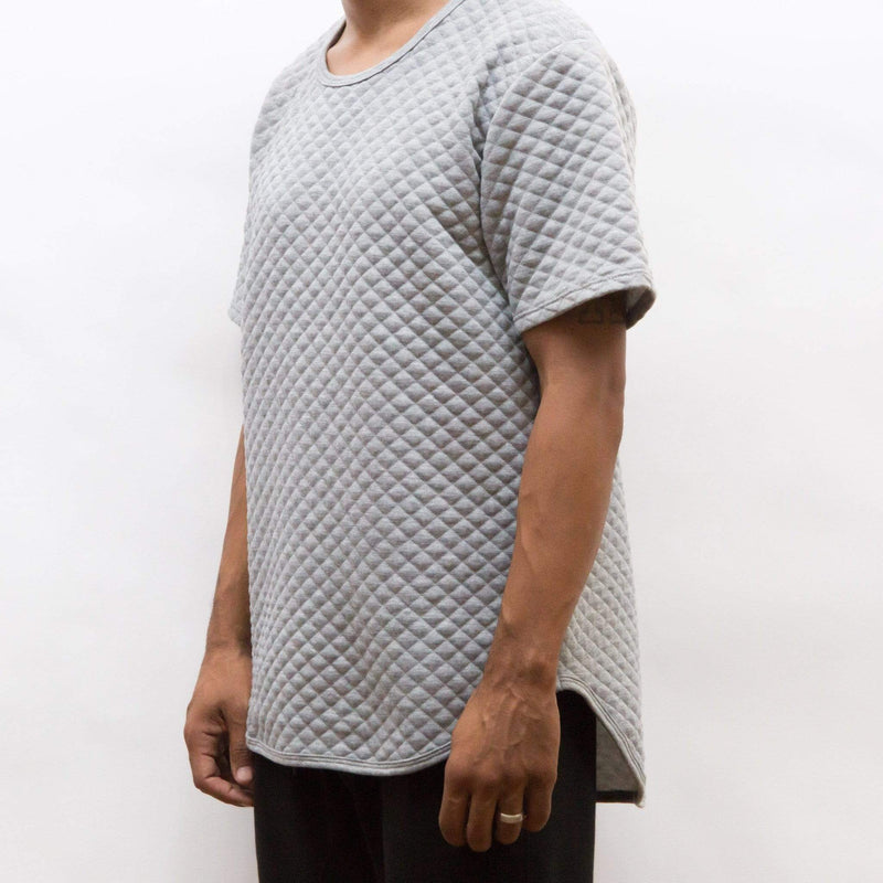 QUILTED SCALLOP TEE- GREY - MEN TOPS - NIGEL MARK