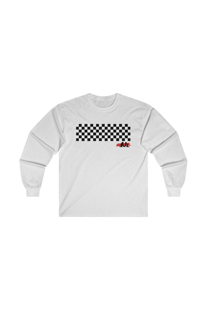 white race track printed sweatshirt