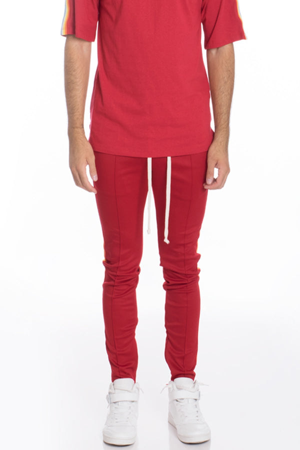 Rainbow Taped Track Pants - Red - Men's Clothing - NIGEL MARK