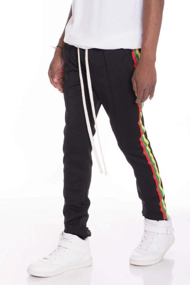 Rasta Track Pants - Black - MEN BOTTOMS - NIGEL MARK