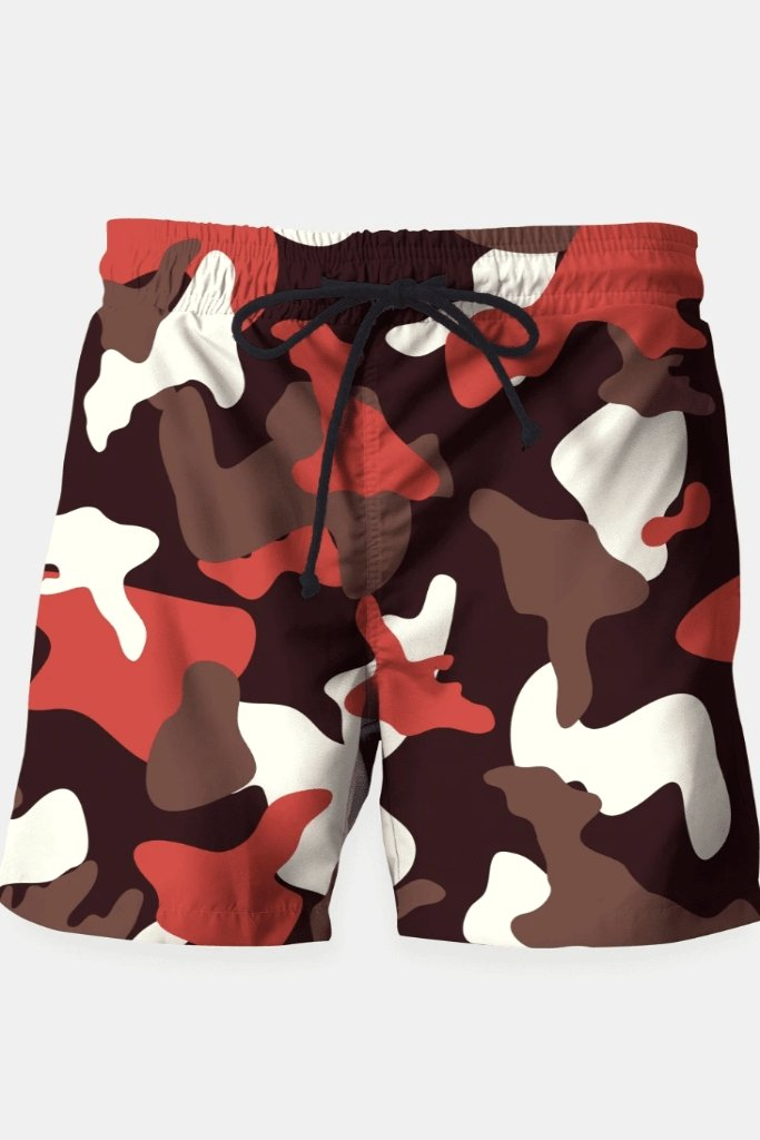 Red Camouflage Army Pattern Swim Shorts - MEN SHORTS - NIGEL MARK