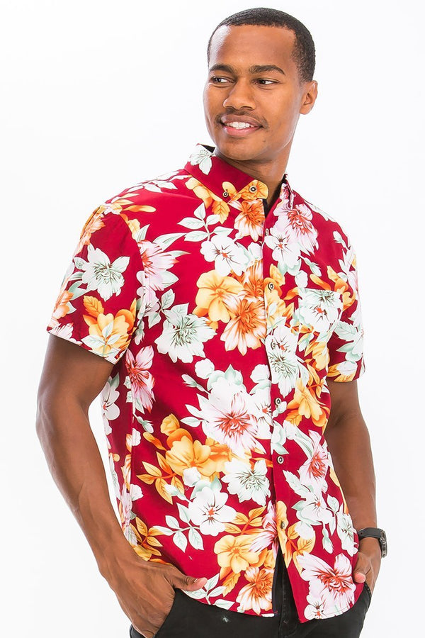 Red Floral Button Down Shirt - MEN TOPS - NIGEL MARK