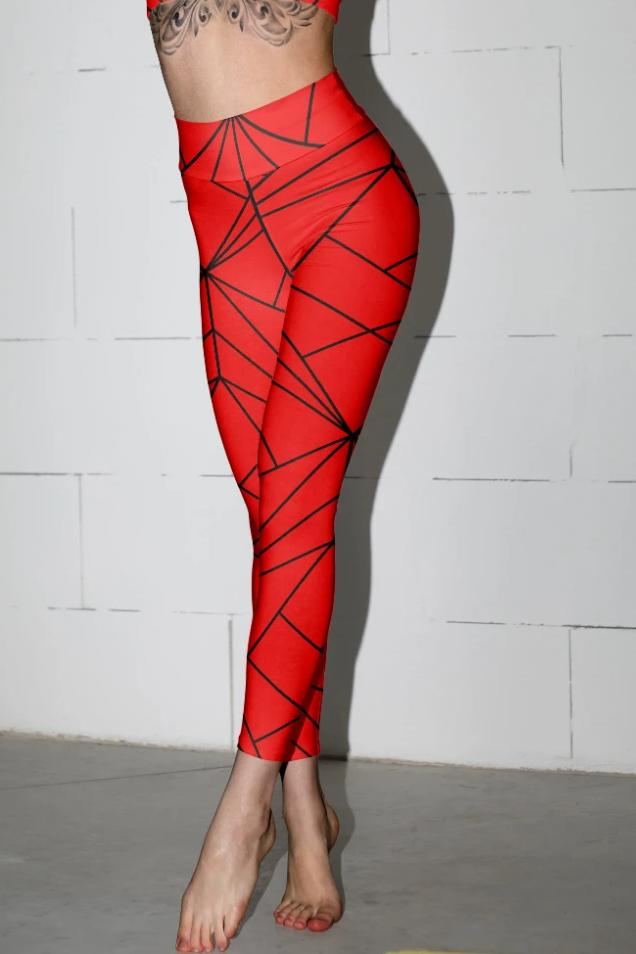 Red Geometry Leggings - BOTTOMS - NIGEL MARK