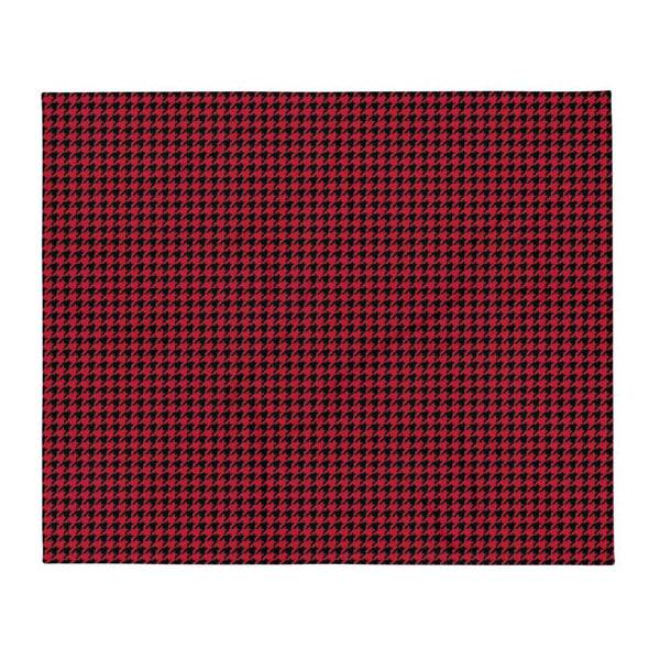 Red Houndstooth Throw Blanket - LIVINGROOM - NIGEL MARK