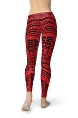 Red Maori Leggings - BOTTOMS - NIGEL MARK