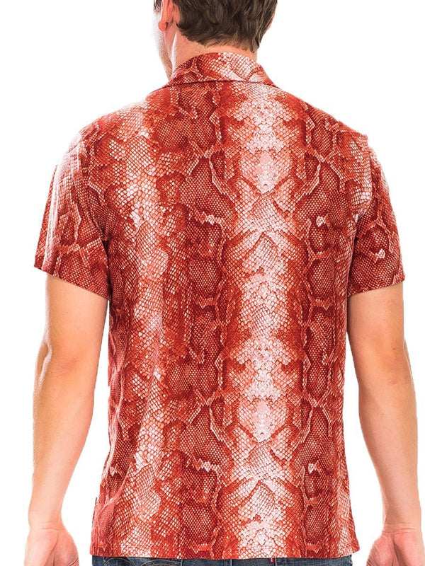 Red Snake Print Button Down Shirt - MEN TOPS - NIGEL MARK