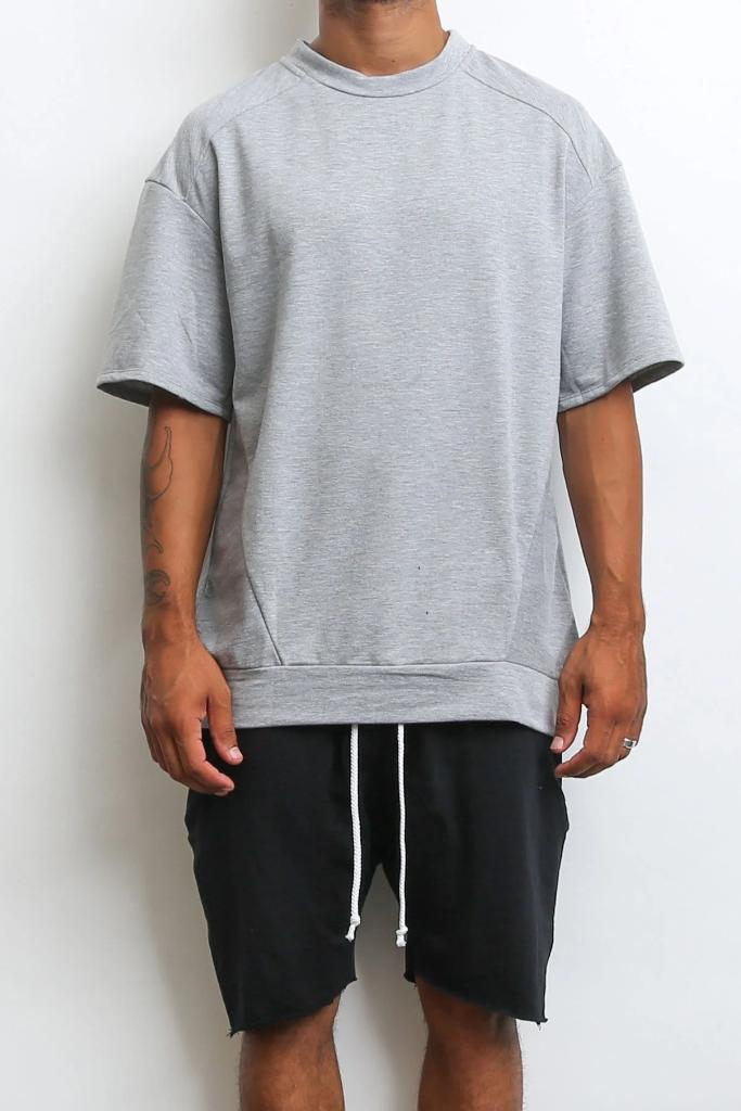Reverse French Terry Tee - Grey - MEN TOPS - NIGEL MARK