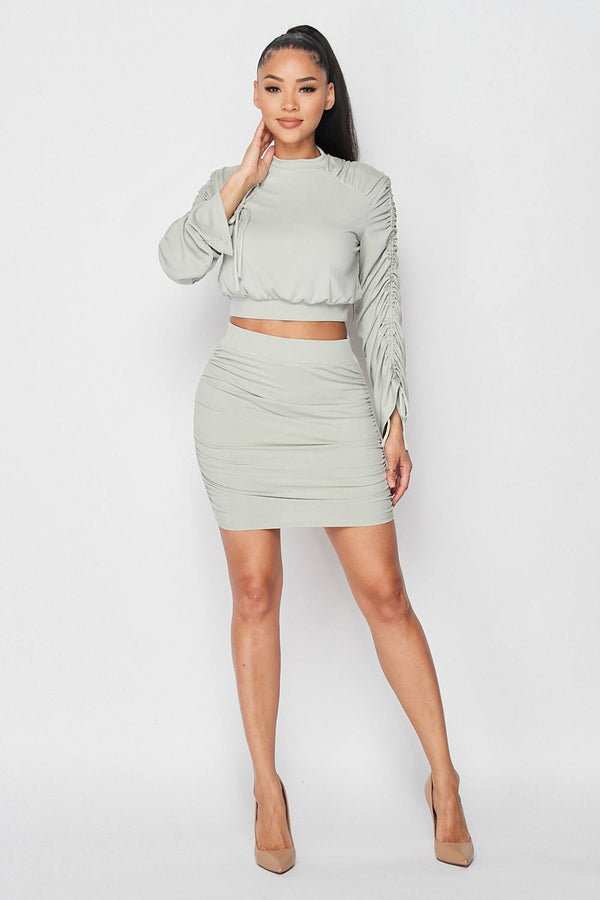 Ruched Long Sleeve And Skirt Set - NIGEL MARK