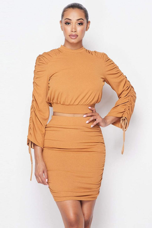 Ruched Long Sleeve And Skirt Set - WOMEN MATCHING SETS - NIGEL MARK