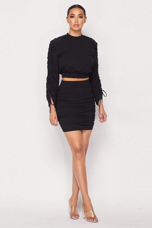 Ruched Long Sleeve And Skirt Set - Black - WOMEN MATCHING SETS - NIGEL MARK