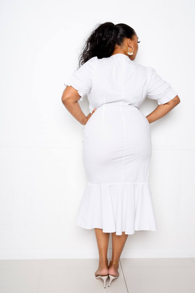 Ruched Mermaid Dress - White - PLUS DRESSES - NIGEL MARK