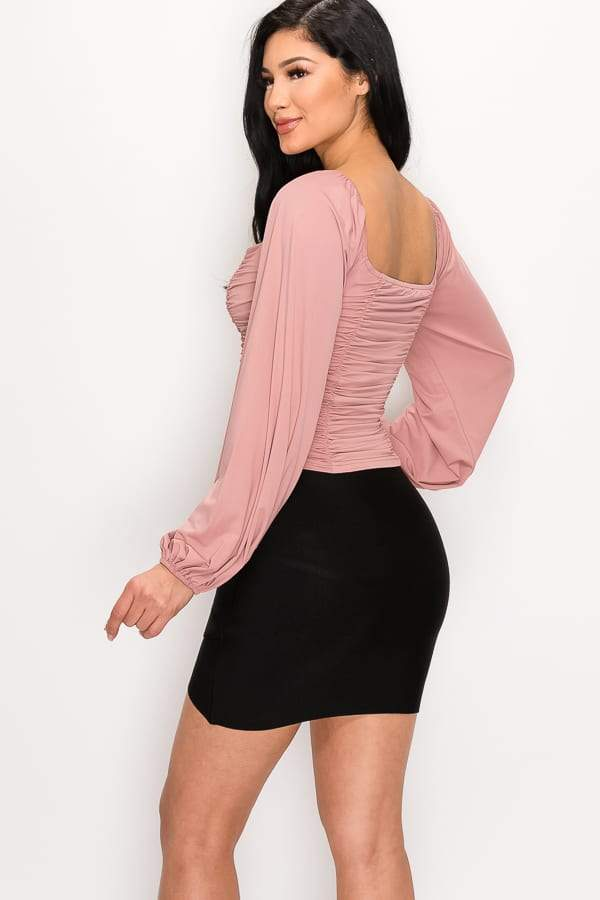 Ruched Sweetheart Top - WOMEN TOPS - NIGEL MARK