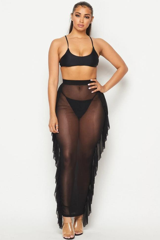 Ruffle Mesh Cover Up Skirt - SWIMWEAR - NIGEL MARK