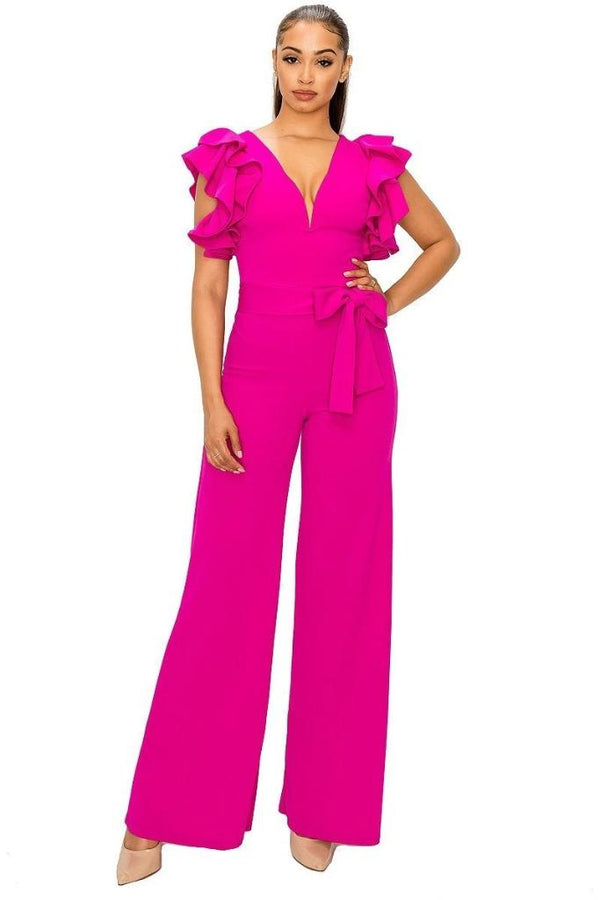 Ruffle Shoulder Jumpsuit - JUMPSUITS & ROMPERS - NIGEL MARK