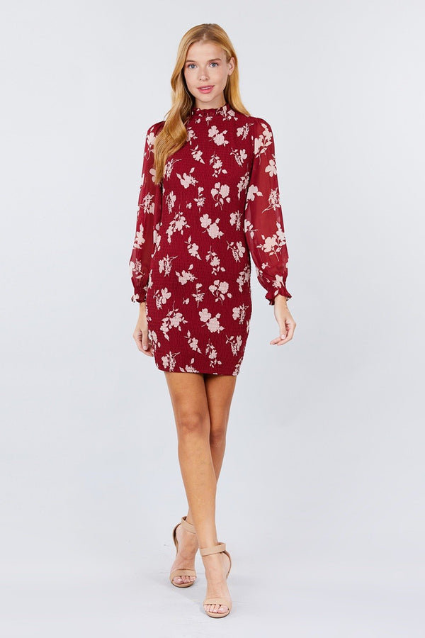 burgundy ruffle sleeve mini dress