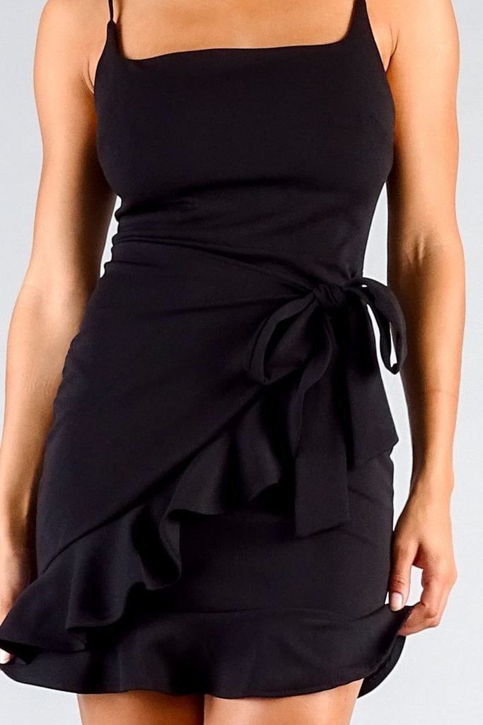black square neck mini dress
