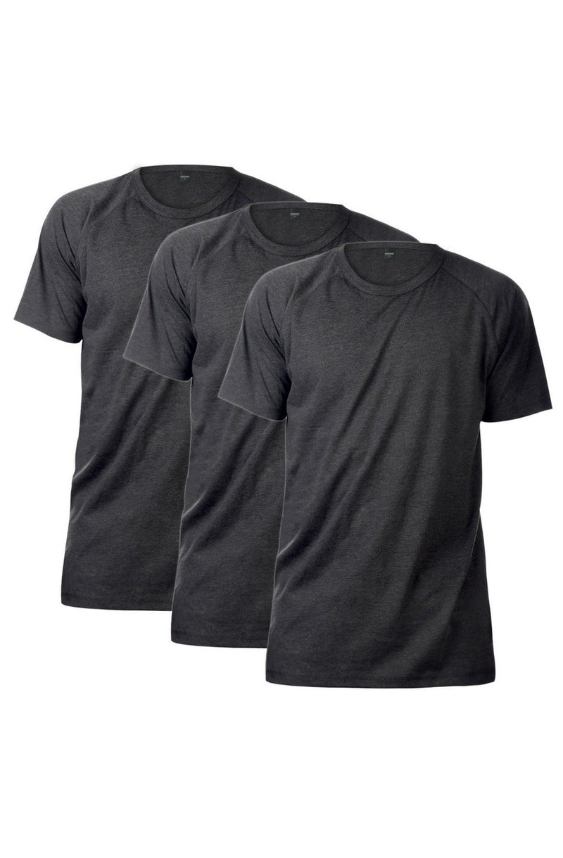 Ruth Raglan Tee 3 Pack (Charcoal) - MEN TOPS - NIGEL MARK