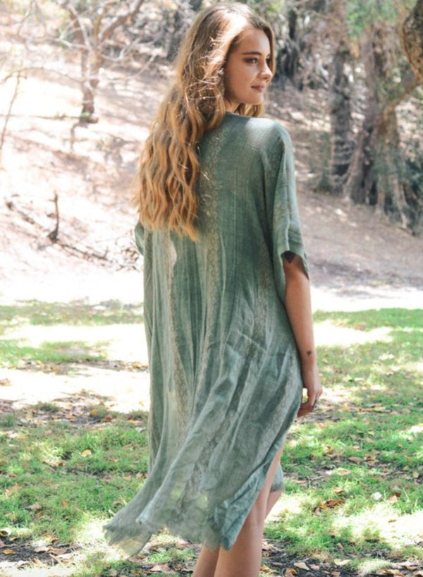 Saffron Sage Long Boho Kimono - Women's Clothing - NIGEL MARK