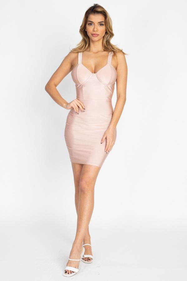 satin bustier nude colored dress