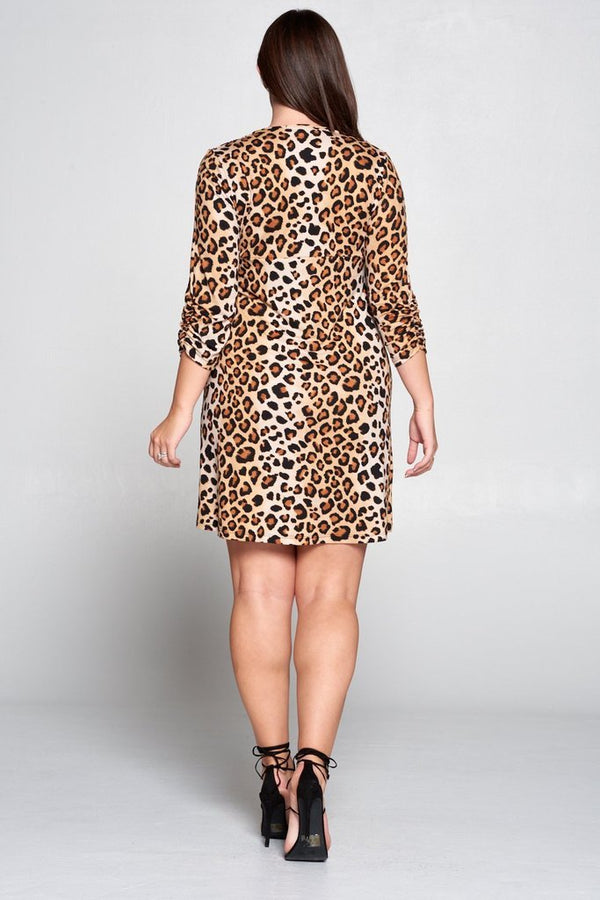Scrunched Sleeved Leopard Dress - PLUS DRESSES - NIGEL MARK