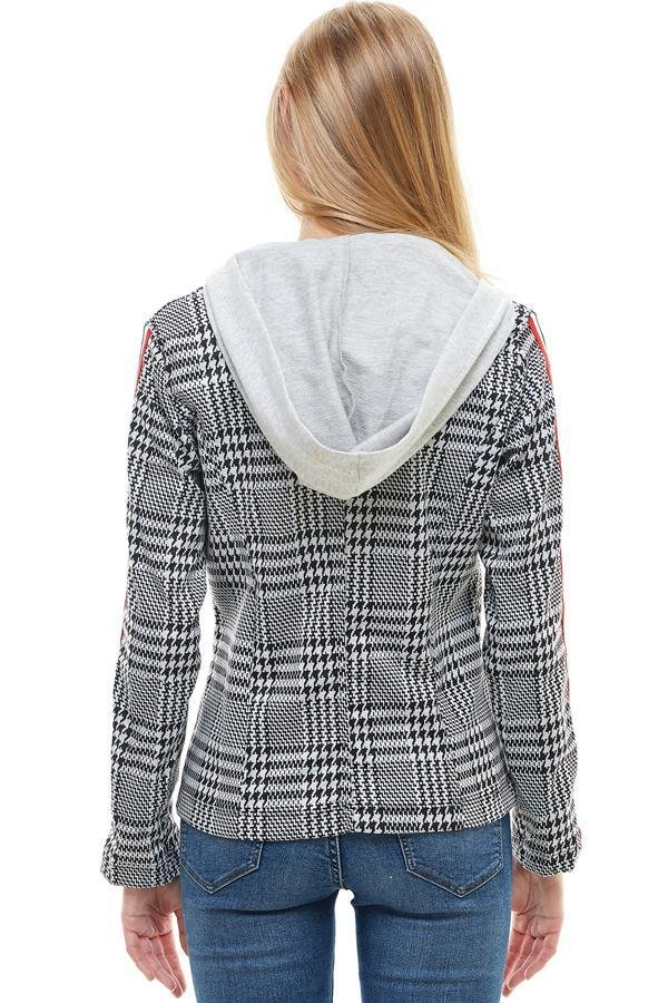 Scuba With Button And Stripe Tape Blazer - Women's Clothing - NIGEL MARK