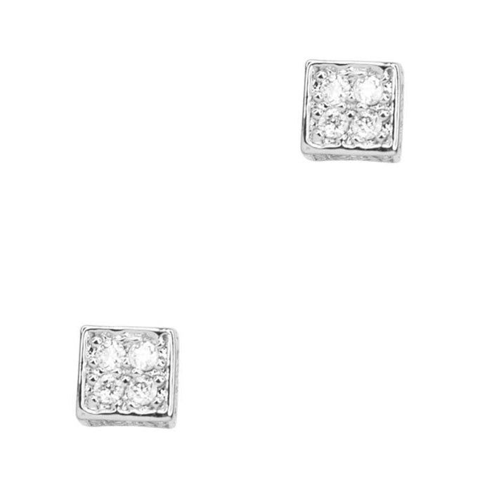 Secret Box Square Stone Stud Earring - NIGEL MARK