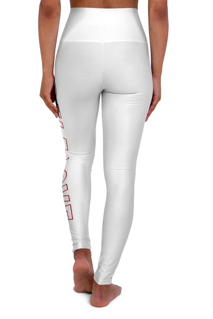 white and red printed legging pants