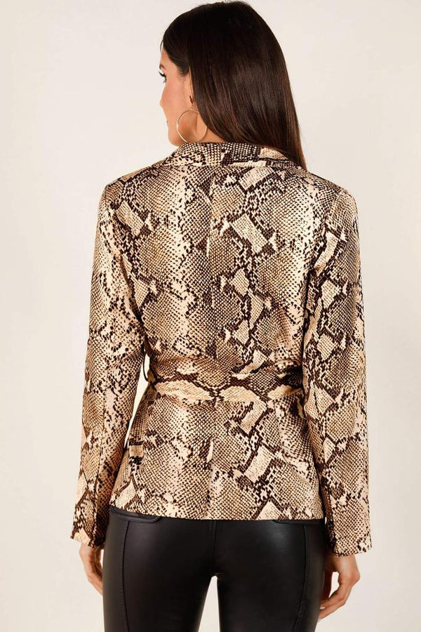 Self Tie Snakeskin Print Blazer - WOMEN TOPS - NIGEL MARK