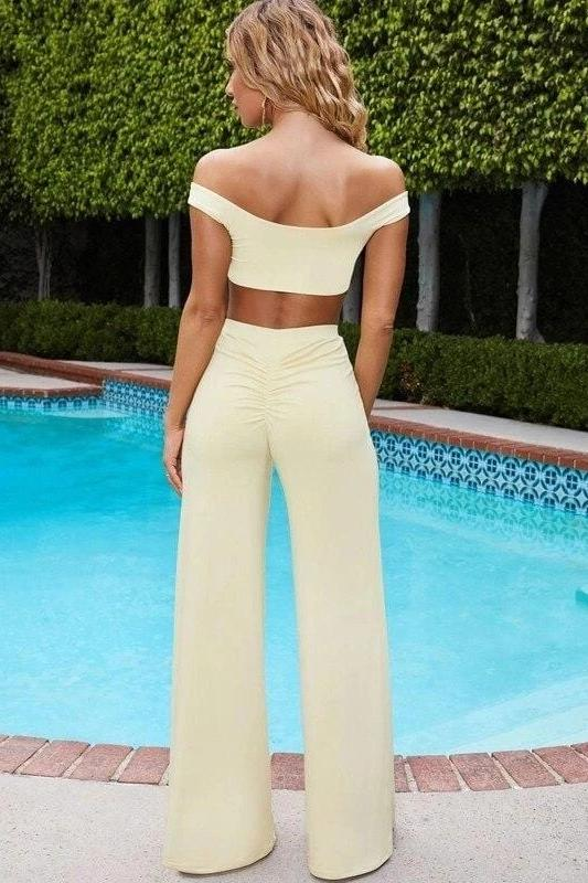 Sexy Crop Top And Flared Pants Set - MATCHING SETS - NIGEL MARK