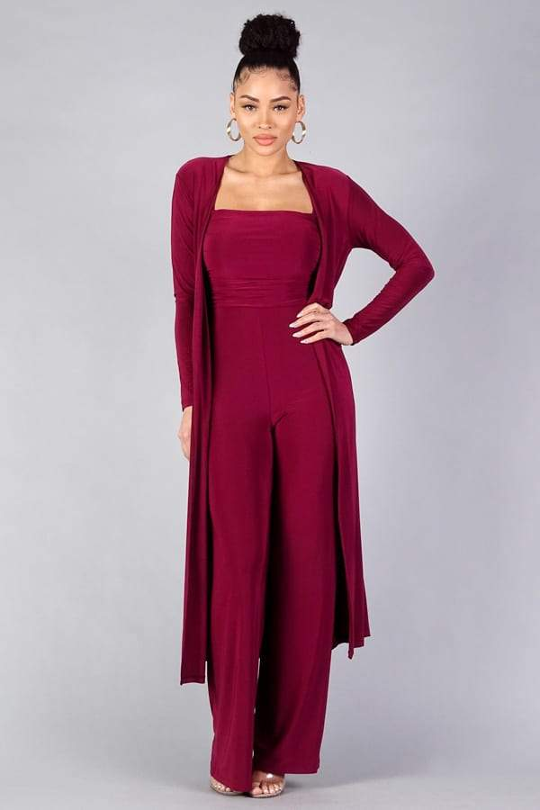 Sexy Silky Belted Robe - Burgundy - WOMEN MATCHING SETS - NIGEL MARK