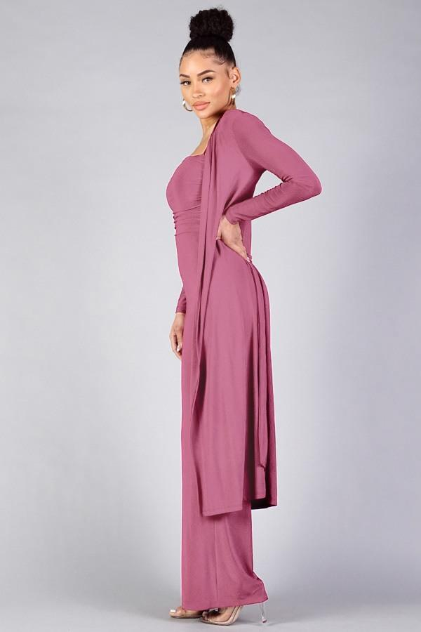 Sexy Silky Belted Robe - Rosy Finch - WOMEN MATCHING SETS - NIGEL MARK