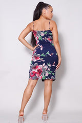 Sexy Spaghetti Strap Front Slit Floral Midi Dress - NIGEL MARK