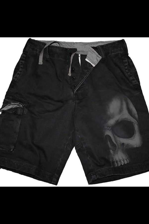 SHADOW SKULL (GREY) - Vintage Cargo Shorts Black - MEN SHORTS - NIGEL MARK