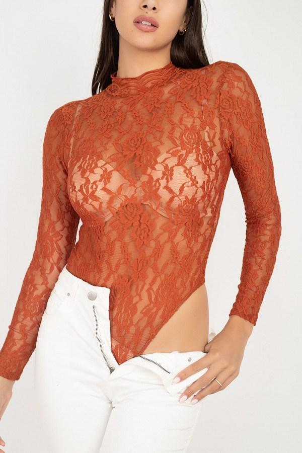 Sheer Floral Lace Bodysuit - Rust - WOMEN TOPS - NIGEL MARK