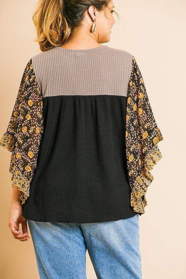 Sheer Floral Top - PLUS TOPS - NIGEL MARK