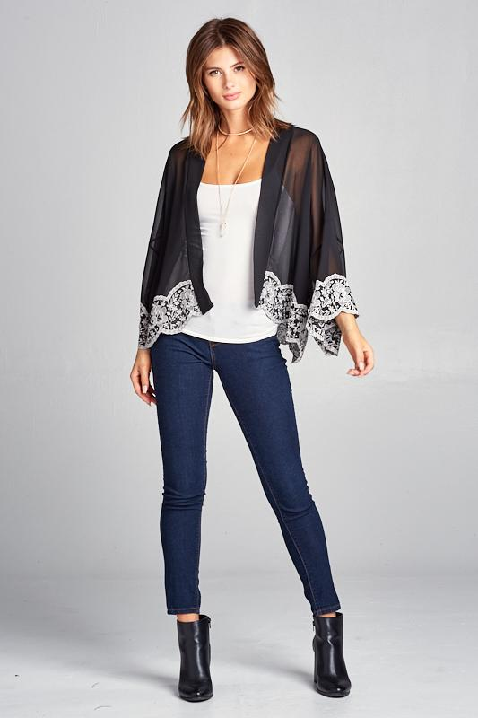 Sheer Kimono With Lace Detail - Women's Clothing - NIGEL MARK