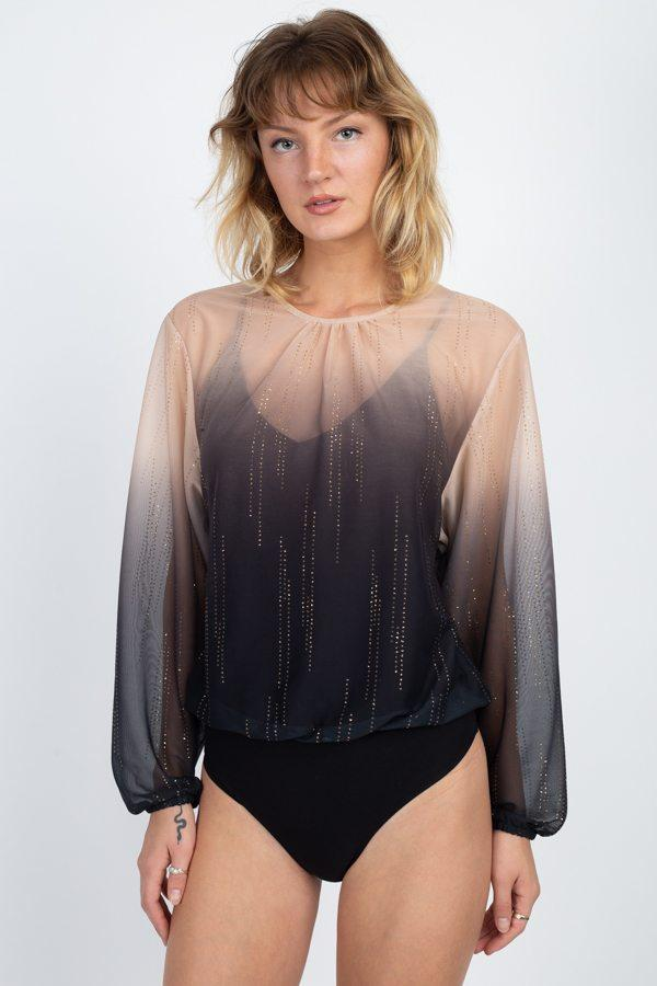 Sheer Metallic Sequin Bodysuit - WOMEN TOPS - NIGEL MARK