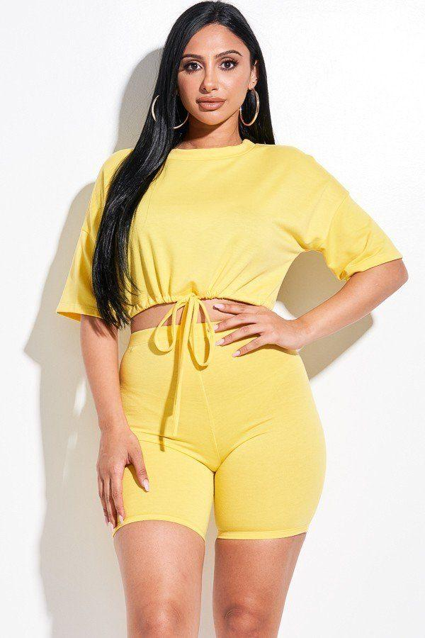 Short Sleeve Biker Short Set - Yellow - WOMEN MATCHING SETS - NIGEL MARK
