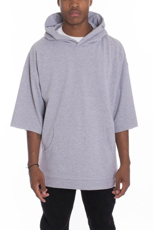 Short Sleeve Hood Tee - Grey - MEN TOPS - NIGEL MARK
