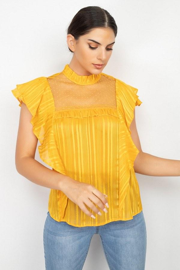 Short Sleeve Ruffle Shadow Top - NIGEL MARK