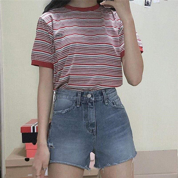 Short Sleeve Striped Korean Ulzzang T shirt - WOMEN TOPS - NIGEL MARK