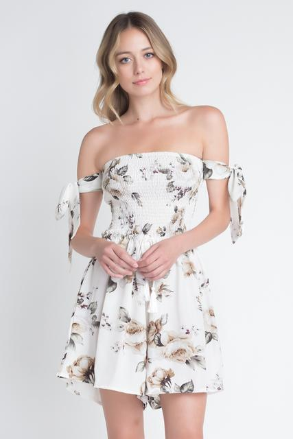 Shoulder Smocked Floral Tie Romper - JUMPSUITS & ROMPERS - NIGEL MARK