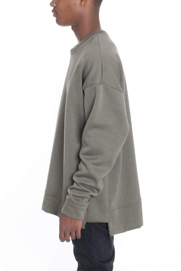 Side Panel Pullover - Olive - MEN TOPS - NIGEL MARK