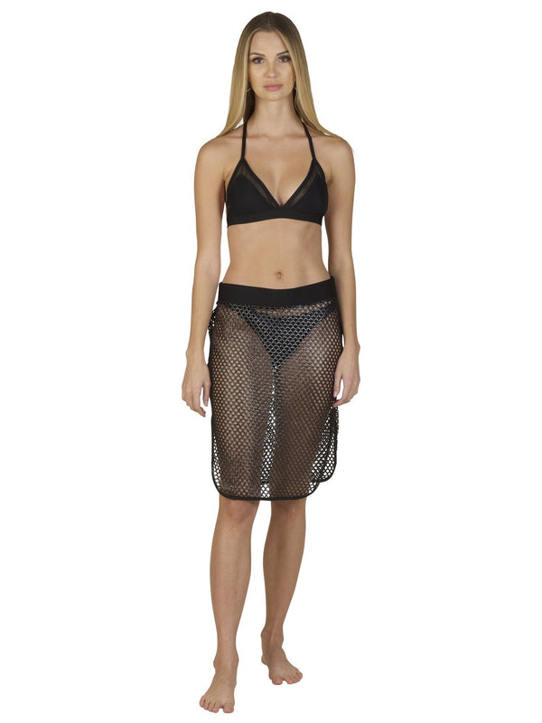 Side Slit Metallic Pewter Skirt - Swimwear - NIGEL MARK