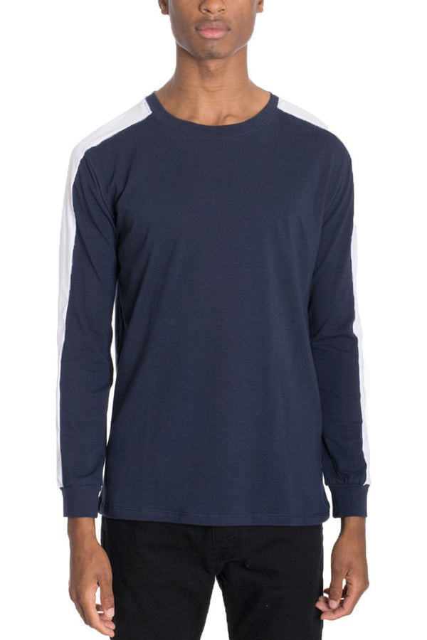 Side Stripe Long Sleeve - Navy - T-shirts - NIGEL MARK