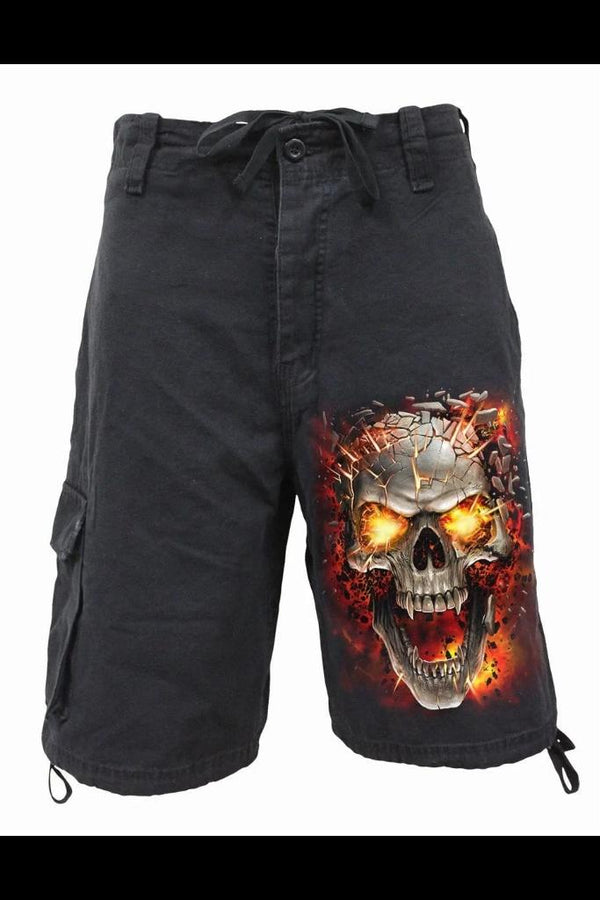 SKULL BLAST - Vintage Cargo Shorts Black - MEN SHORTS - NIGEL MARK