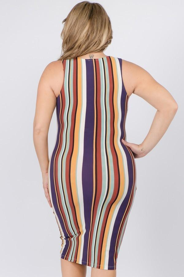 Sleeveless Stripe Plus Size Midi Dress - PLUS DRESSES - NIGEL MARK